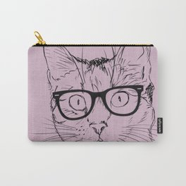 Hipster Cat in Plum Carry-All Pouch