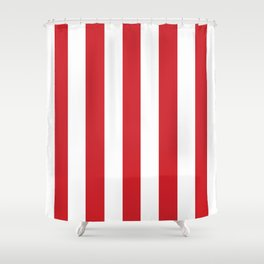Fire engine red - solid color - white vertical lines pattern Shower Curtain