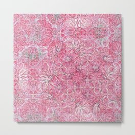 Flamingo Pink Chalk Blooms Metal Print