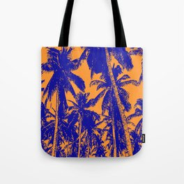 Palm Trees Design in Blue and Orange Tote Bag
