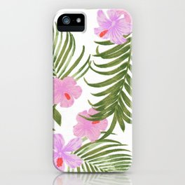 Modern pink green palm tree tropical floral iPhone Case