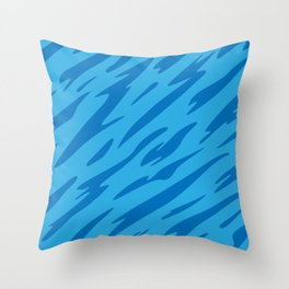 Bold and Beautiful Blues Abstract Striped Pattern Throw Pillow