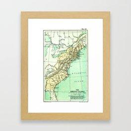 Vintage American Colonies Map - 1775 Framed Art Print