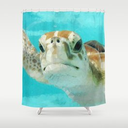 Geometric Sea Turtle Shower Curtain