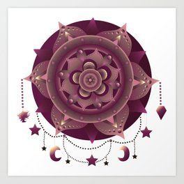 Magenta mandala dream catcher Art Print