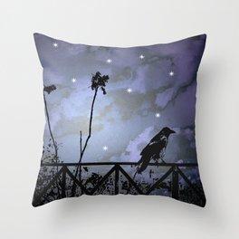 Fantasy Dark Night Scene Illustration Throw Pillow