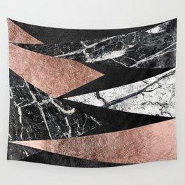 Elegant Modern Marble, Rose Gold, & Black Foil Triangles Wall Tapestry