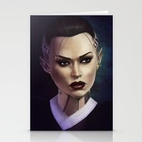 mass effect Stationery Cards featuring Mass Effect: Jack by Ruthie Hammerschlag