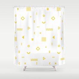 Yellow Memphis Pattern Shower Curtain