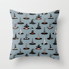 Halloween - Witch Hats on Gray Throw Pillow