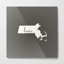 Massachusetts is Home - White on Charcoal Metal Print