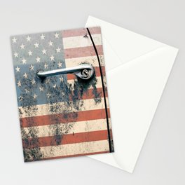Door old car and falg USA America Stationery Cards