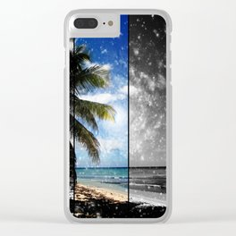 Caribbean Dreaming - digital artwork tribute to Isla Saona in the Dominican Republic Clear iPhone Case
