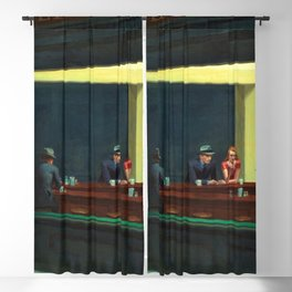 NIGHTHAWKS downtown diner late at night iconic cityscape oil on canvas painting by Edward Hopper Blackout Curtain
