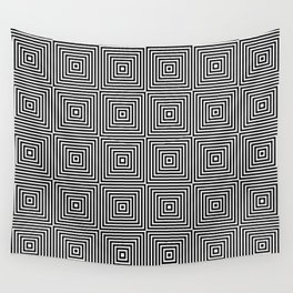 Square Optical Illusion Black And White Wall Tapestry