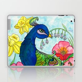 peacock and flowers Laptop & iPad Skin