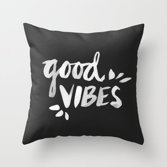 Good Vibes – White Ink Throw Pillow