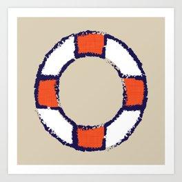 lifeguard buoy sand #nauticaldecor Art Print