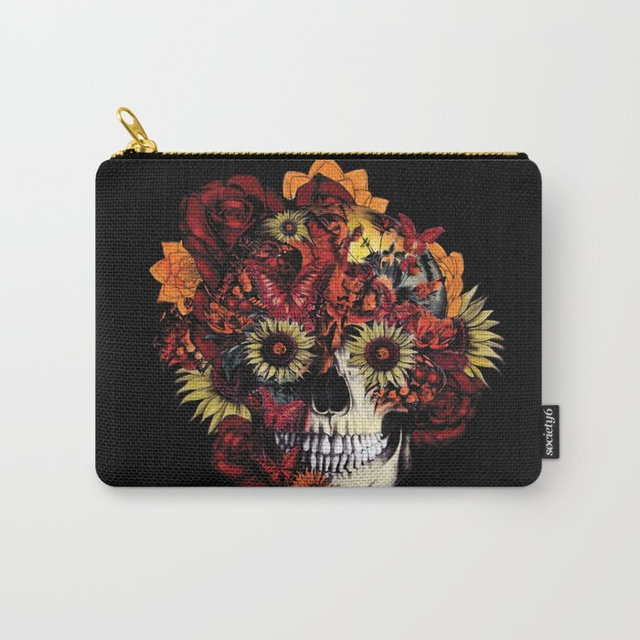 Full circle...Floral ohm skull Carry-All Pouch