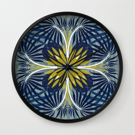 Blue palms pattern Wall Clock