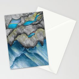 Mountain Landscape: abstract clouds illustration - Nature art - landscape drawing - pen drawing Stationery Cards