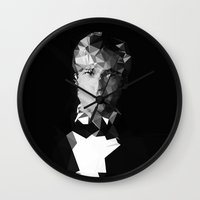 brad pitt Wall Clocks featuring BRAD by THE USUAL DESIGNERS