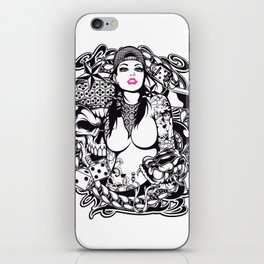 GIRL with SKULL AND SNAKE - PINK iPhone Skin