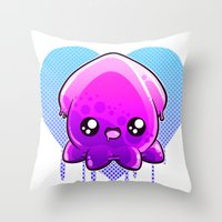 hentai Throw Pillows featuring Jelly Squid  by Lucky Squid Studios