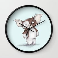 gizmo Wall Clocks featuring Gizmo Plushie by Ludwig Van Bacon