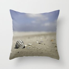 shell on the beach with a blue sky | nature photo | fine art photo print | travel photography Throw Pillow