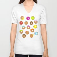 donuts V-neck T-shirts featuring Donuts by Reg Silva / Wedgienet.net