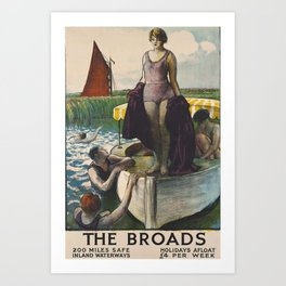 The Broads Vintage Travel Poster Art Print
