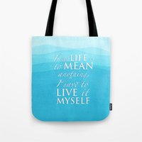 percy jackson Tote Bags featuring Live it myself - book quote from Percy Jackson and the Olympians by book quay