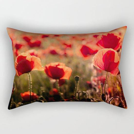 Fiery poppy field - Red Poppies Flowers Rectangular Pillow