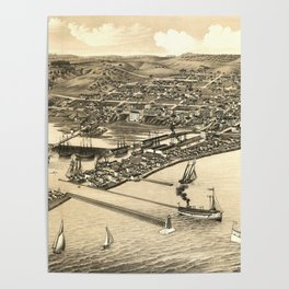 Vintage Pictorial Map of Duluth MN (1883) Poster