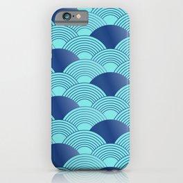 Japanese style geometric light blue waves pattern iPhone Case