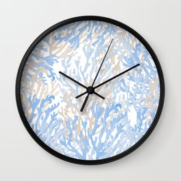 Modern hand painted blue brown watercolor reef coral floral Wall Clock