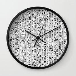 Hieroglyphics B&W / Ancient Egyptian hieroglyphics pattern Wall Clock