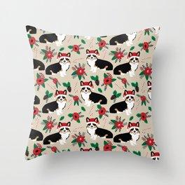 Tricorgi Christmas Floral print - tri corgi blanket, tricolored corgi, corgi gift, corgi lover, cute Throw Pillow