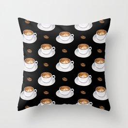 Cappuccino - black Throw Pillow