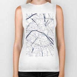 Paris France Minimal Street Map - Navy Blue and White Biker Tank
