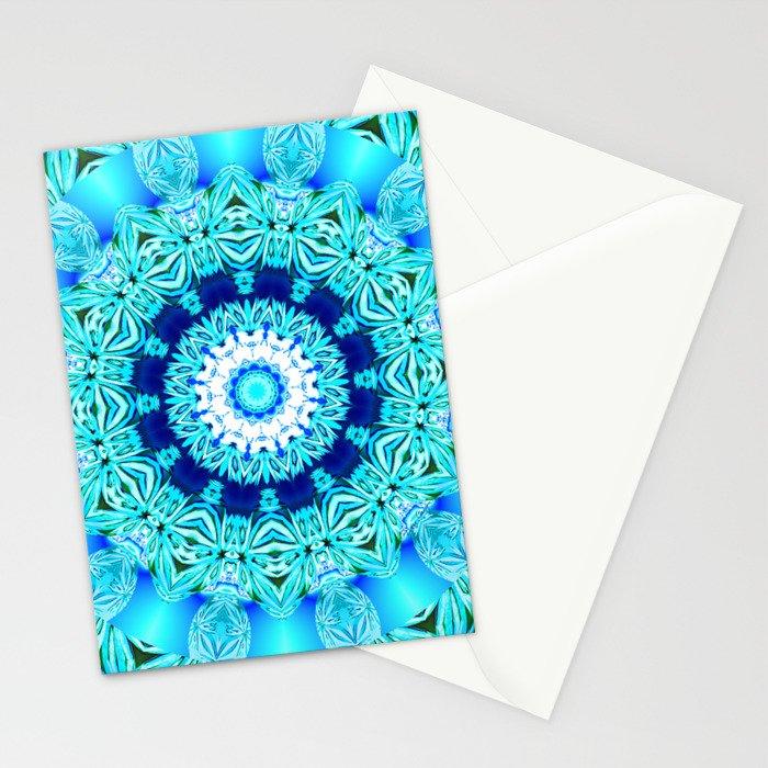 Blue Ice Glass Mandala, Abstract Aqua Lace Stationery Cards