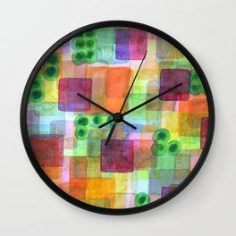 Red Bungalows and Trees Wall Clock