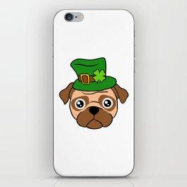 Irish Pug - St. Patrick's Day Shamrock Hat iPhone Skin