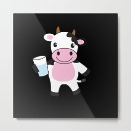 Baby Cow Cute Farm Animal Metal Print