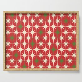 Atomic Age Christmas Starbursts - Midcentury Modern Xmas Holiday Pattern Cream Green Red Serving Tray