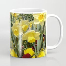 Floral Spring Garden with Daffodils and Pansies Coffee Mug