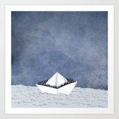 Escape boat Art Print