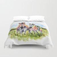 zebra Duvet Covers featuring Zebra by Anna Shell