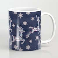 stickers Mugs featuring Silver Snowflakes & Happy Reindeer in Navy Blue & Pink by micklyn